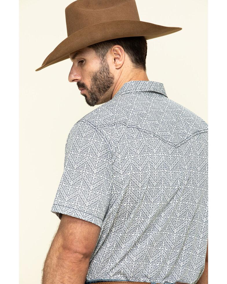 Cody James Men's Chevron Floral Print Short Sleeve Western Shirt , White, hi-res