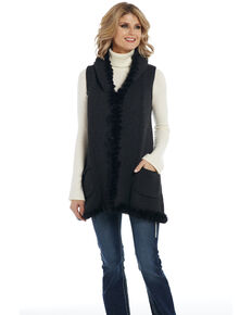 Cripple Creek Women's Solid Rabbit Trim Vest, Black, hi-res