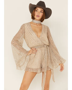 By Together Women's Gold Sequins Pleated Gauze Long Sleeve Romper , Gold, hi-res