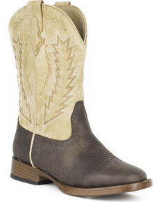 Roper Boys' Billy Arrowhead Cowboy Boots - Square Toe, Brown, hi-res