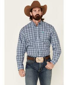 Cinch Men's Blue Geo Print Long Sleeve Western Shirt , Blue, hi-res