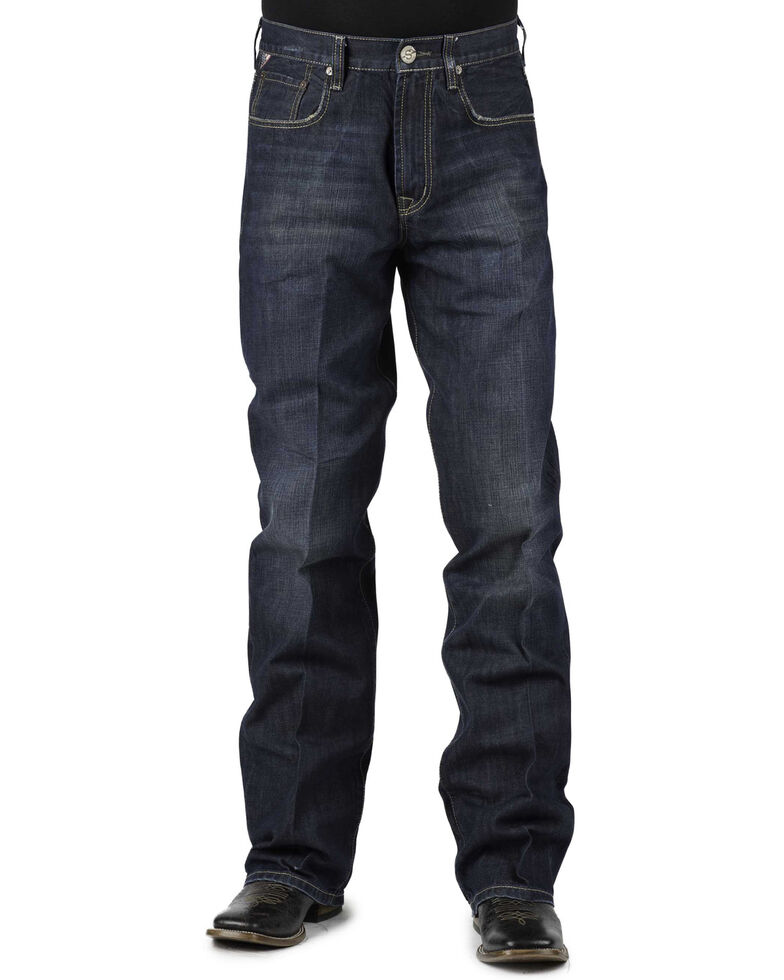 Stetson 1312 Relaxed Fit Jeans with Flag Detail - Boot Cut - Big and Tall, Denim, hi-res