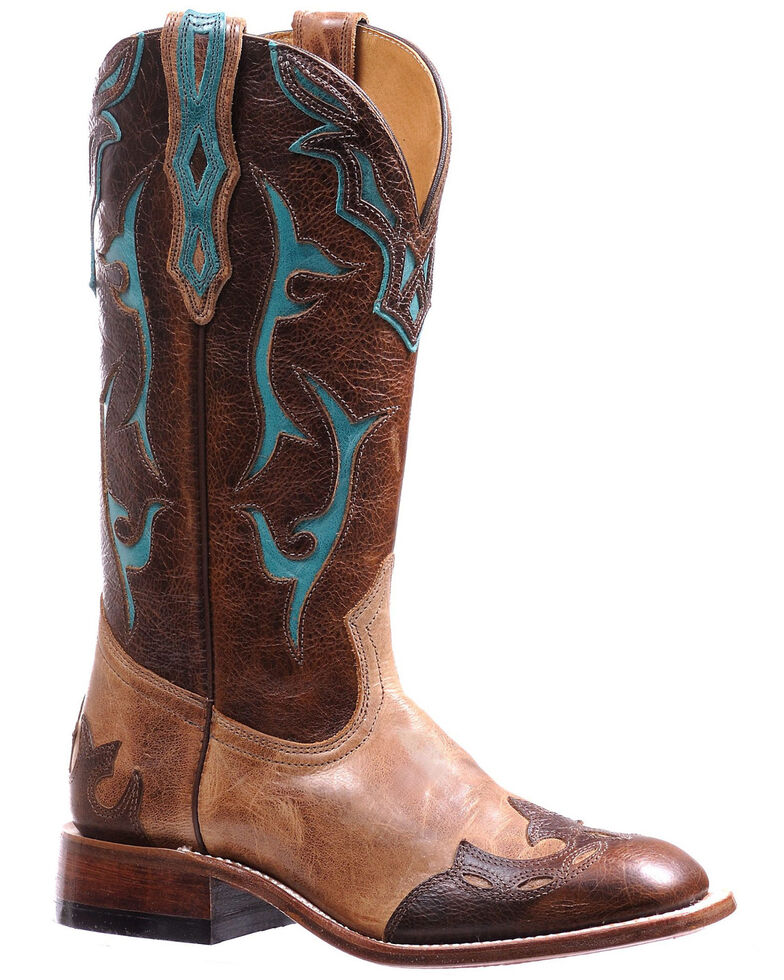 Boulet Women's Inlay Shaft Western Boots - Square Toe, Tan, hi-res