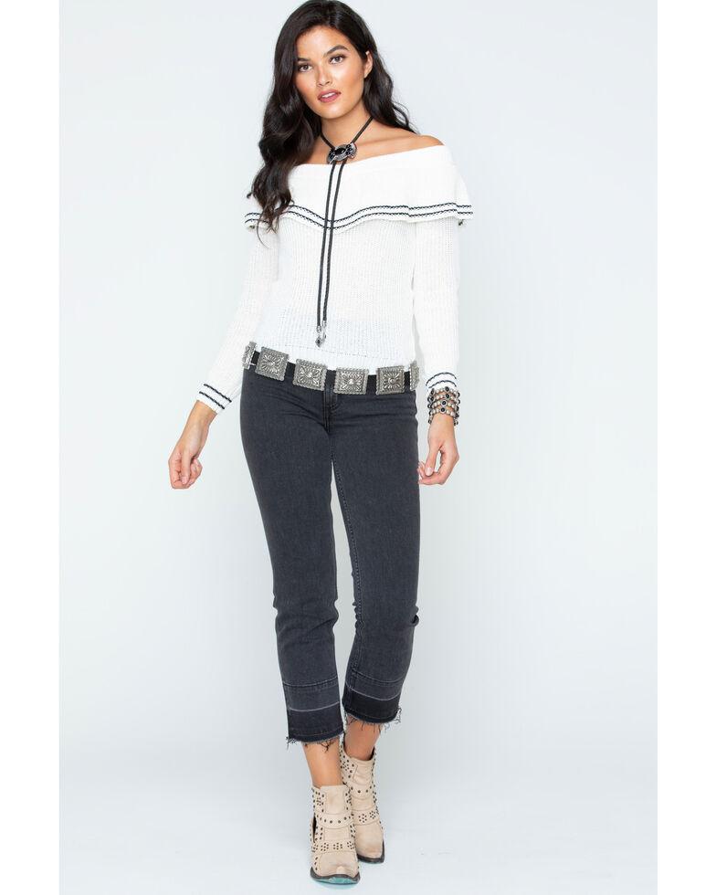 BB Dakota Women's Ruffle Sweater, Ivory, hi-res