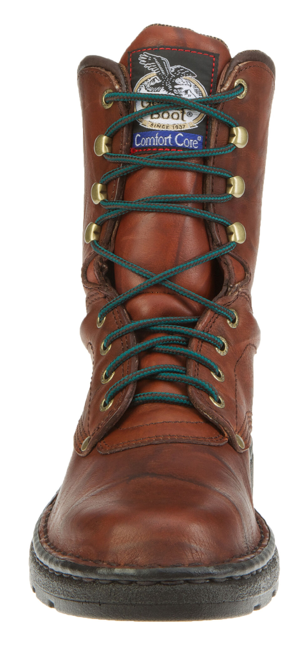 "Georgia Men's 8"" Eagle Light Lace-Up Work Boots - Round Toe, Russet, hi-res"