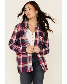 Flag & Anthem Women's Ramsey Plaid Long Sleeve Button-Down Western Core Shirt , Navy, hi-res