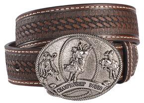 Cody James Boys' Basketweave Rodeo Buckle Belt, Brown, hi-res