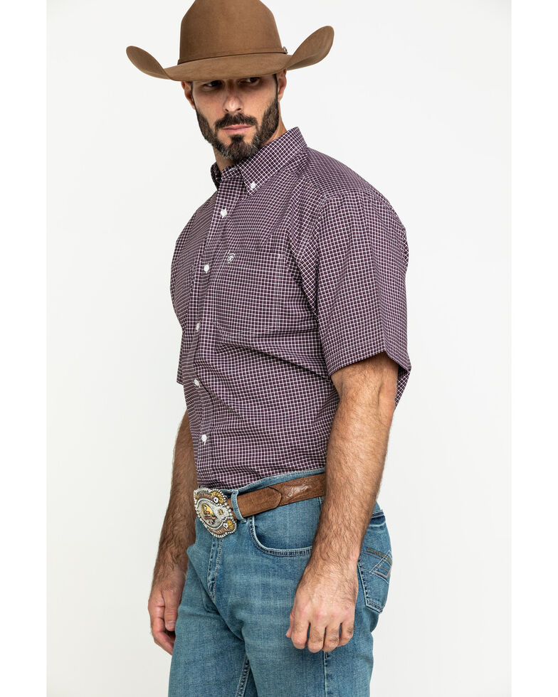Ariat Men's Ladera Stretch Plaid Short Sleeve Western Shirt - Tall , Brown, hi-res
