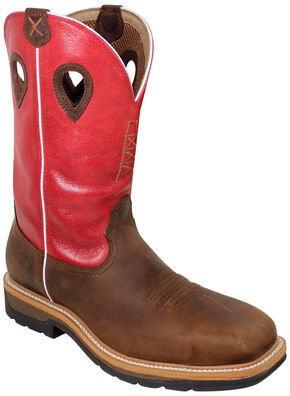 Twisted X Red Waterproof Lite Cowboy Work Boots - Composite Safety Toe , Distressed, hi-res