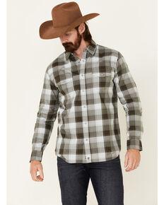 Moonshine Spirit Men's Tuskegee Plaid Long Sleeve Snap Western Shirt , Forest Green, hi-res