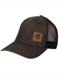 John Deere Men's Brown Leather Patch Logo Mesh Ball Cap, Brown, hi-res