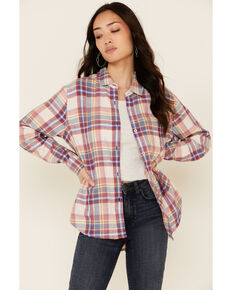 Flag & Anthem Women's Lydia Multi Plaid Long Sleeve Button-Down Western Core Shirt , Pink, hi-res