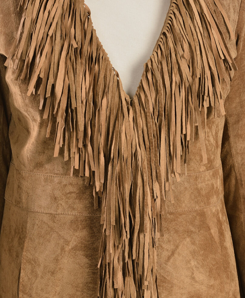 Scully Boar Suede Fringed Maxi Coat, Cinnamon, hi-res