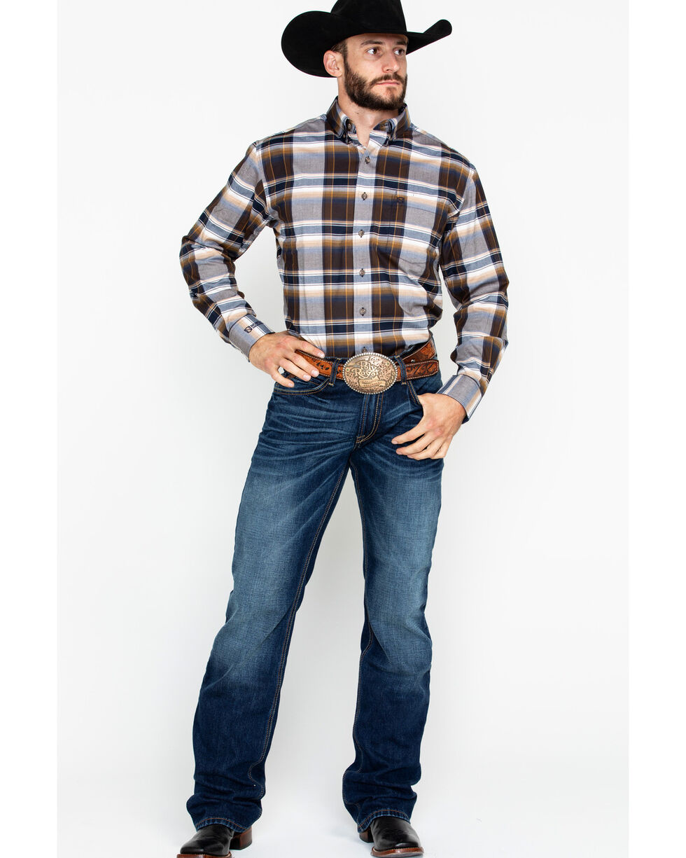Noble Outfitters Men's Generations Fit Ombre Plaid Long Sleeve Western Shirt , Navy, hi-res