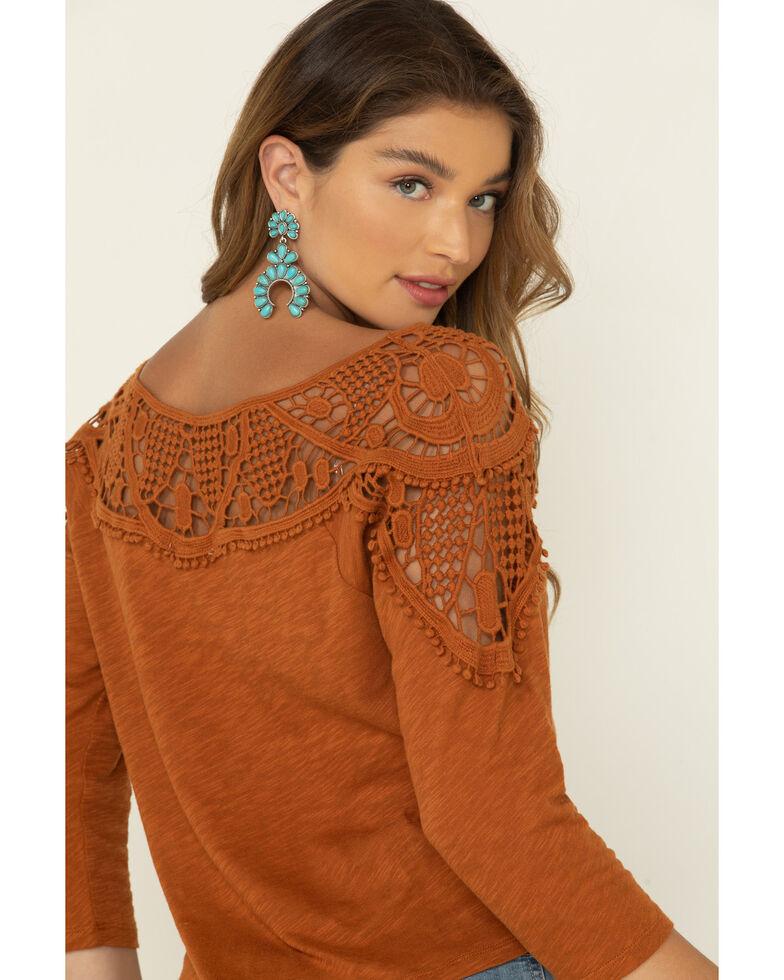 Eyeshadow Women's Cognac Crochet Long Sleeve Peasant Top , , hi-res