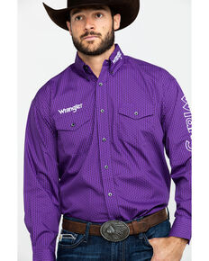 Wrangler Men's Small Geo Print Logo Long Sleeve Western Shirt - Tall , Purple, hi-res