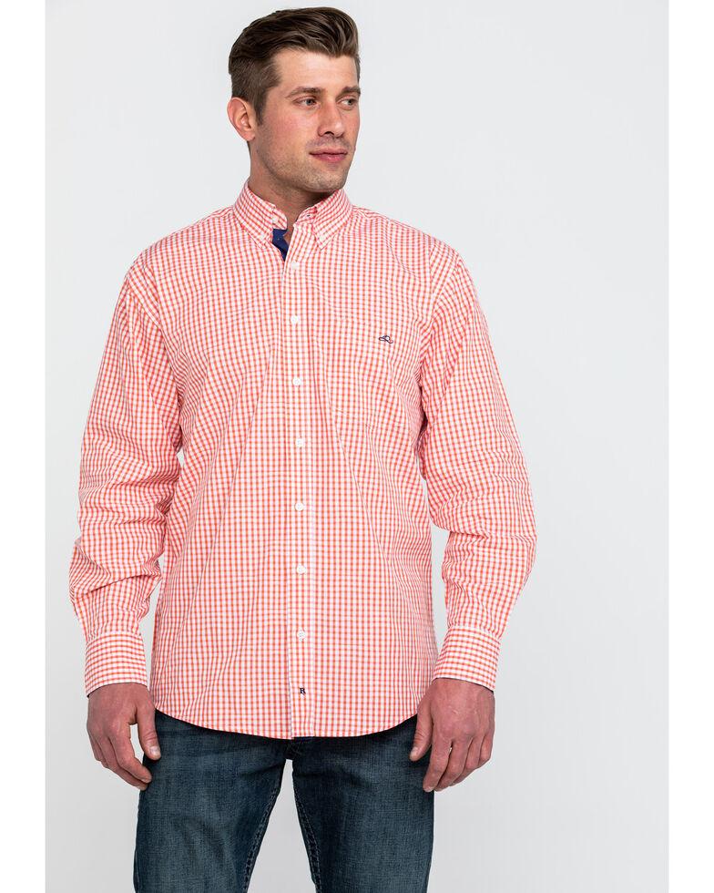 Resistol Men's Dartmoor Small Plaid Long Sleeve Western Shirt , Orange, hi-res