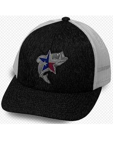 Oil Field Hats Men's Heather Black & White Texas Star Bass Mesh-Back Ball Cap , Black, hi-res