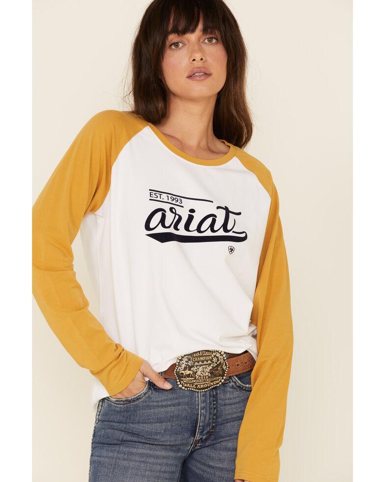 Ariat Women's White Varsity Logo Long Sleeve Raglan Tee , White, hi-res