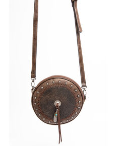 Shyanne Women's Maisie Metallic Tooled Circle Crossbody Leather Handbag , Coffee, hi-res