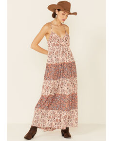 Angie Women's Peach Ivory Ditsy Tiered Maxi Dress, Peach, hi-res