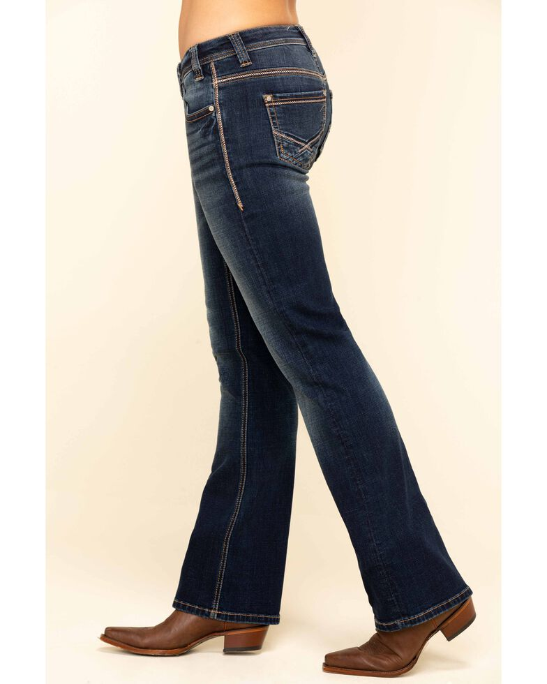 Rock & Roll Cowgirl Women's Dark Riding Copper Bootcut Jeans, Blue, hi-res