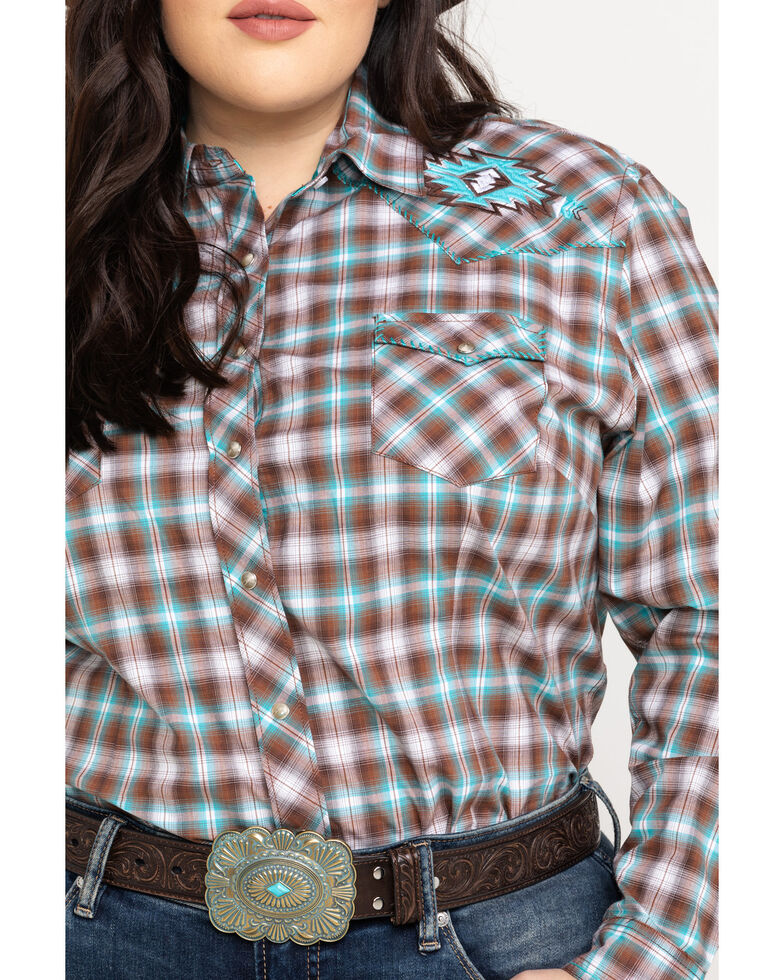 Rough Stock by Panhandle Women's Lambie Antique Ombre Plaid Long Sleeve Top - Plus, Turquoise, hi-res