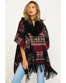 Cripple Creek Women's Black Aztec Navajo Blanket Fringe Cowl Poncho , Black, hi-res