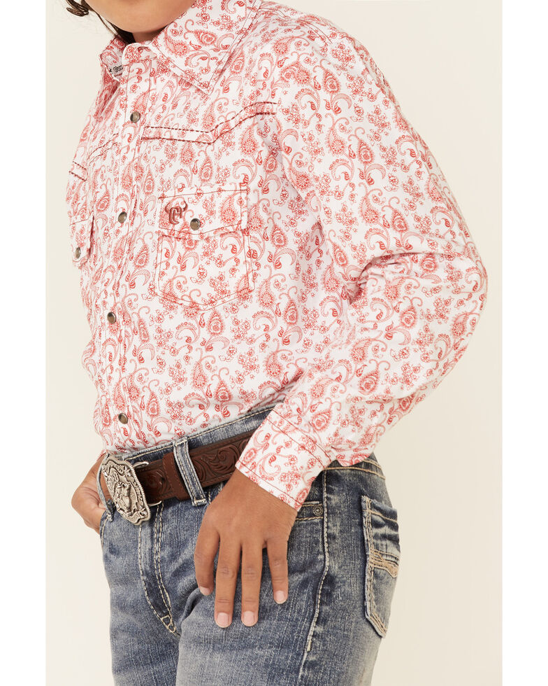 Cowboy Hardware Boys' Orange Paisley Print Long Sleeve Snap Western Shirt , Orange, hi-res