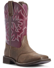 Ariat Women's Delilah Western Boots - Wide Square Toe, Brown, hi-res