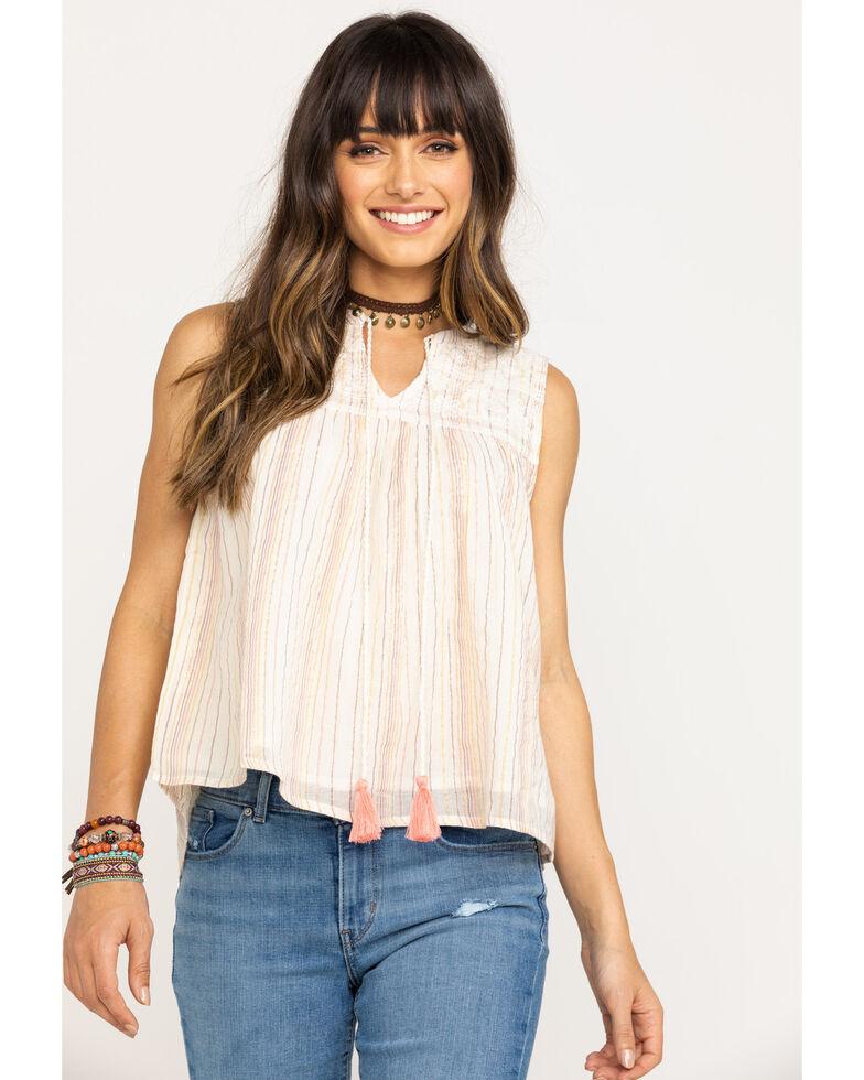 Miss Me Women's Mandarin Lace Tank Top, Beige/khaki, hi-res