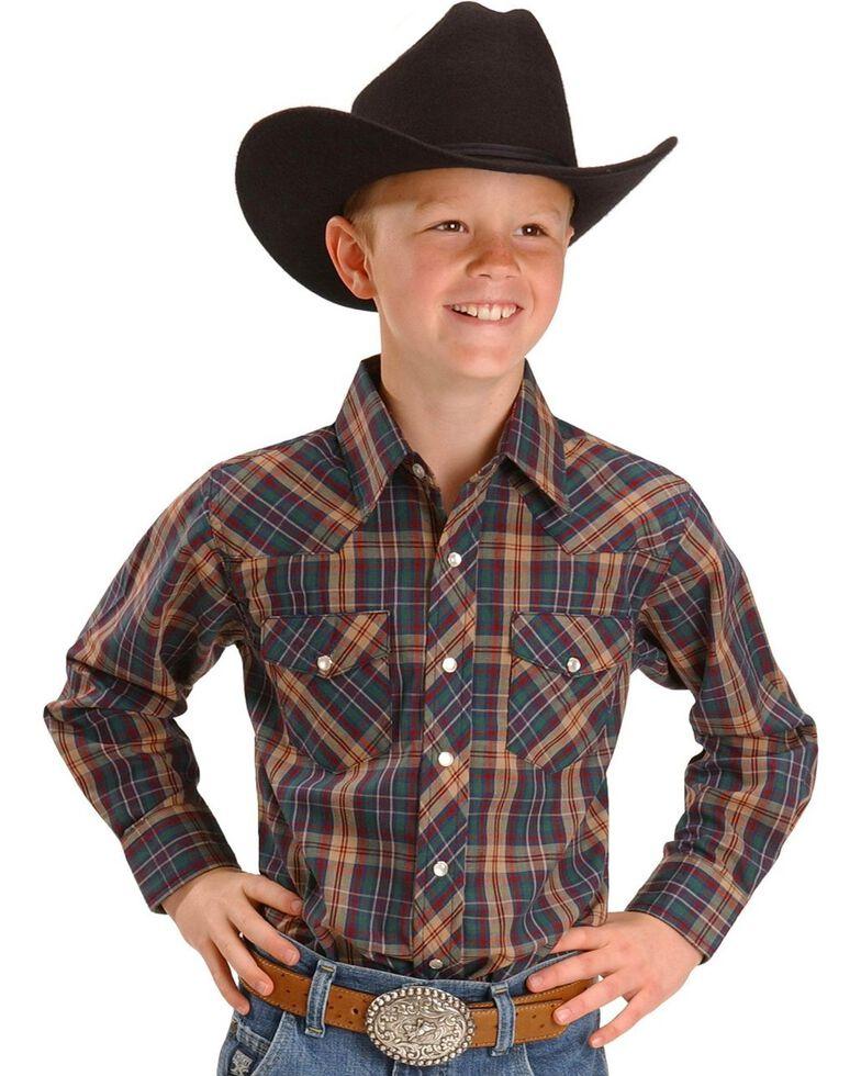 Wrangler Boys' Assorted Plaid Western Shirt - 2-20, Plaid, hi-res