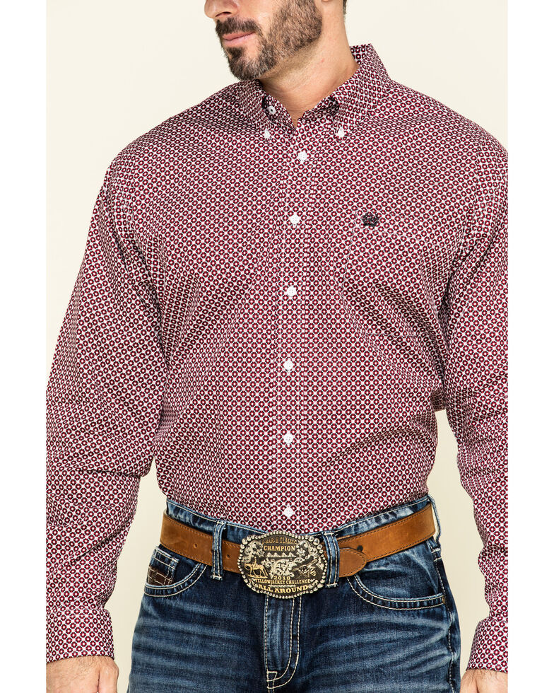 Cinch Men's Multi Geo Print Weave Long Sleeve Western Shirt , Multi, hi-res
