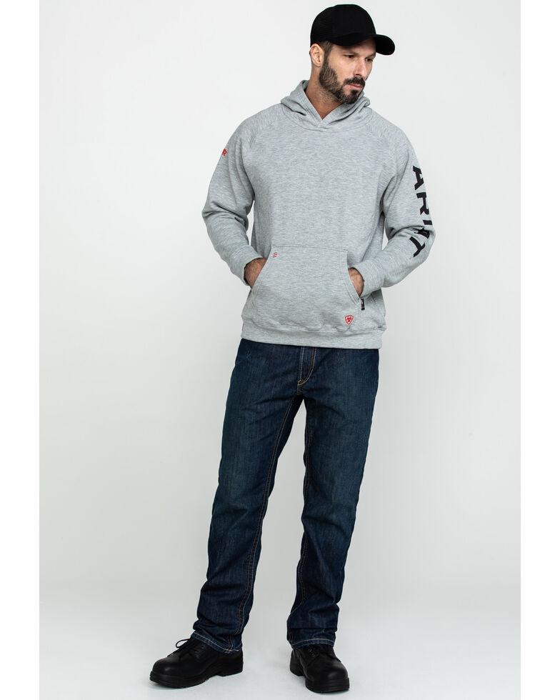 Ariat Men's Heather Grey FR Primo Fleece Logo Hooded Work Sweatshirt , Heather Grey, hi-res