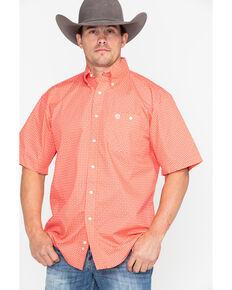 George Strait by Wrangler Men's Coral Geo Print Short Sleeve Shirt , Coral, hi-res