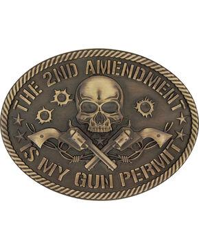 Montana Silversmiths Men's Brass 2nd Amendment Buckle , Silver, hi-res