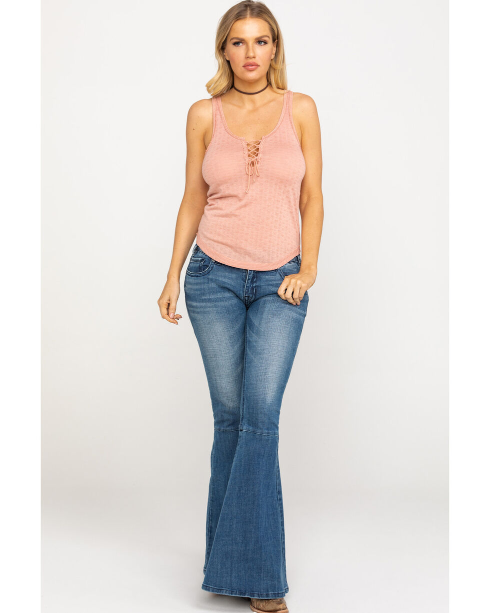 Others Follow Women's Blush Pointelle Lace Up Tank Top , Blush, hi-res