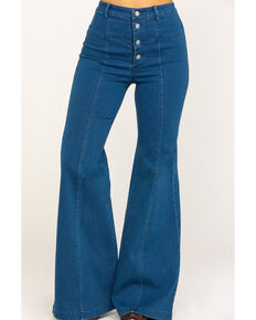 Flying Tomato Women's Dark Button Fly Flare Jeans, Blue, hi-res