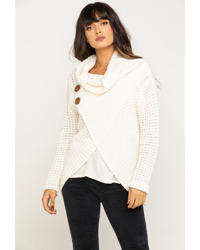 Panhandle Women's Ivory Waffle Knit Crossover Sweater, Ivory, hi-res