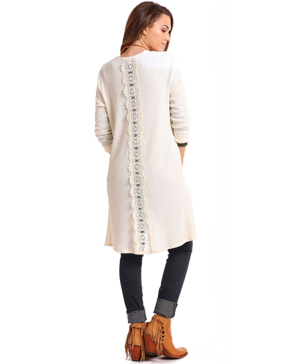 Panhandle Women's Waffle Knit Duster, Ivory, hi-res