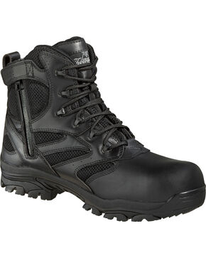 "Thorogood Men's Deuce 6"" Waterproof Side Zip Work Boots - Composite Toe, Black, hi-res"