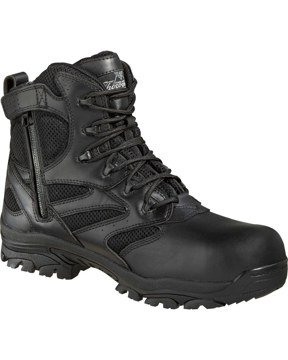 "Thorogood Men's Deuce 6"" Waterproof Side Zip Work Boots - Composite Toe, Black, hi-res"