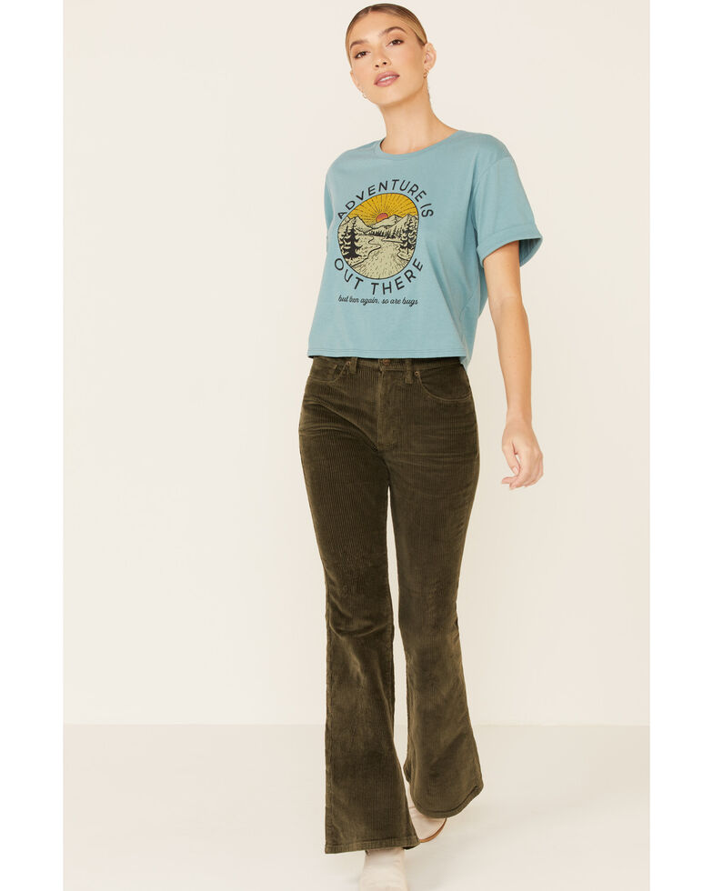 Cut & Paste Women's Sage Adventure Is Out There Graphic Cropped Tee , Sage, hi-res