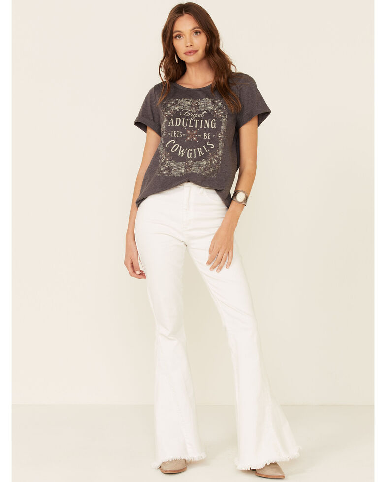 Cut & Paste Women's Forget Adulting Graphic Short Sleeve Tee , Charcoal, hi-res