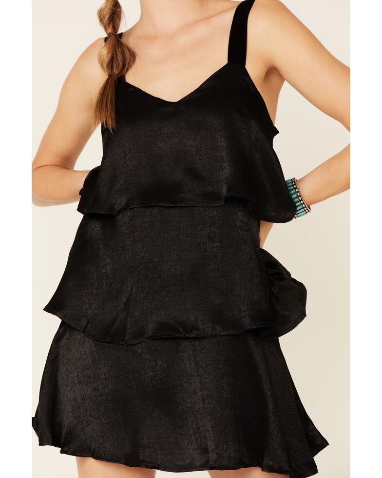 Sadie & Sage Women's Tiered Satin Dress, Black, hi-res