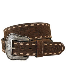 Roper Men's Tooled Strap Western Belt, Brown, hi-res