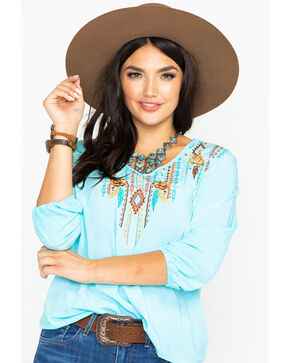 Panhandle Women's V-Neck Loose Embroidered Challis Top  , Light Blue, hi-res
