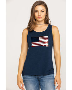 Ariat Women's Sequin Flag Tank, Navy, hi-res