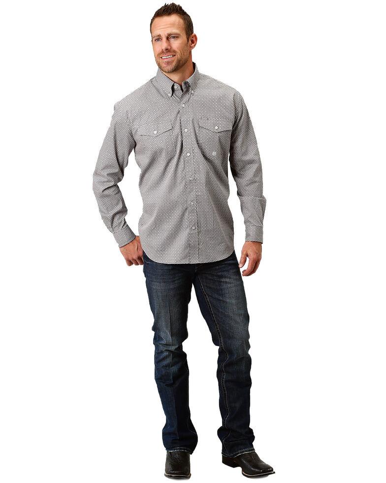 Roper Men's Marble Geo Print Long Sleeve Western Shirt , Grey, hi-res
