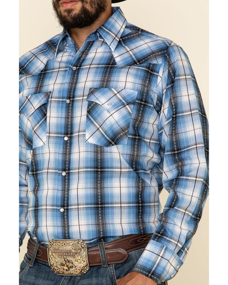 Ely Walker Men's Blue Dobby Plaid Long Sleeve Western Shirt - Big , Blue, hi-res